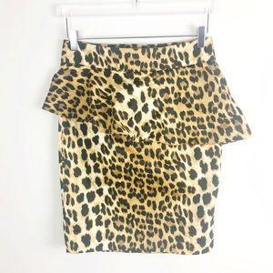 Zara Peplum Leopard Mini Pencil Skirt Size Medium